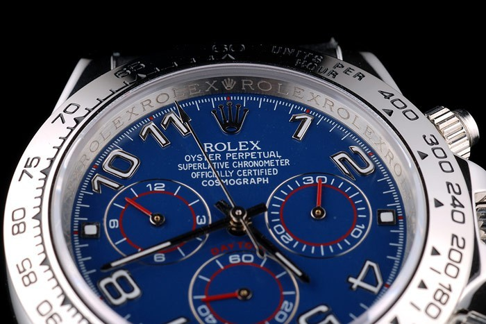Rolex Daytona Stainless Steel Case Blue Dial Black Leather Strap