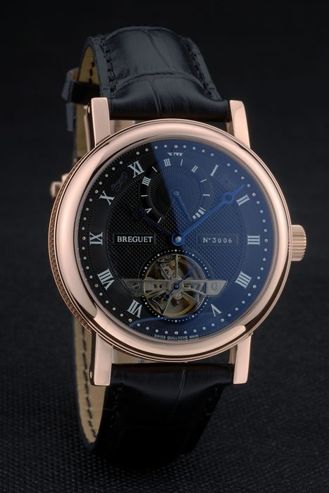 Breguet Classique Complications Rose Gold Case Black Leather Strap 80156