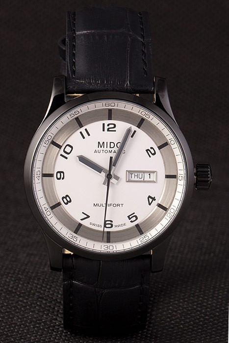Mido Multifort Black Croco Leather Strap White-Silver Dial 80297