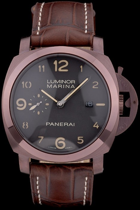 Panerai Luminor Brown Leather Strap Black Dial 80161