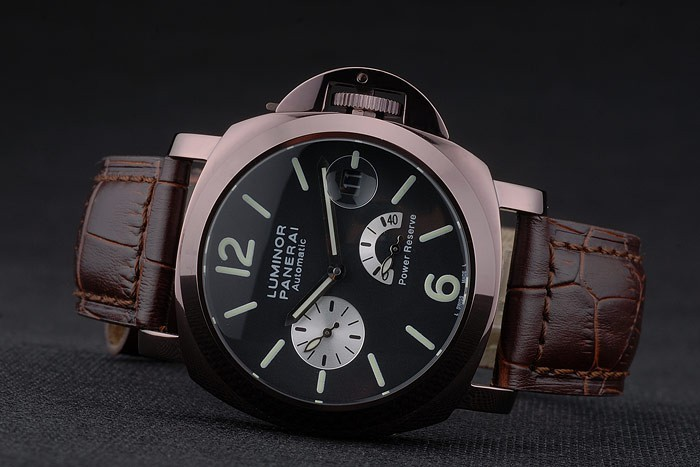 Panerai Luminor Brown Leather Strap Black Dial 80163